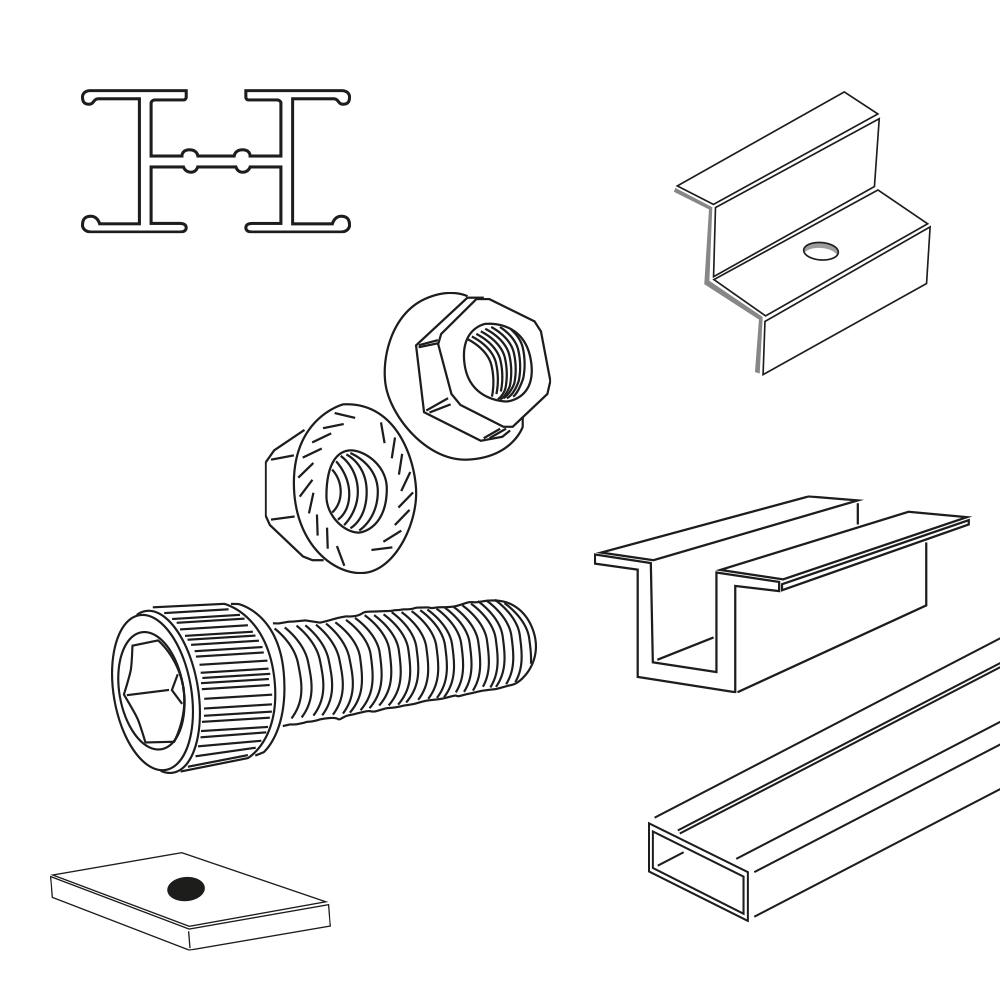 Componentes para Suportes Módulos Fotovoltaicos