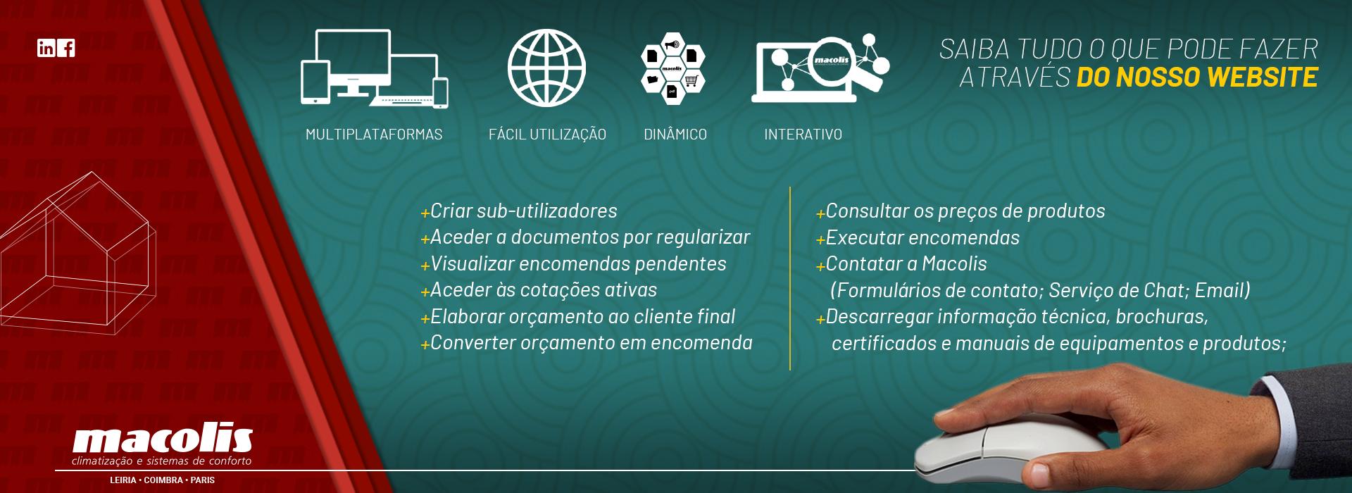 Funcionalidades do website
